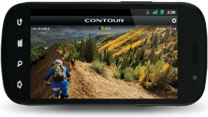 Picture shows an Android smartphone in use as a viewfinder for the Contour+2 camera.