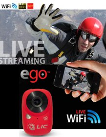 Picture shows the Ego HD viewing a skydiver in action while watching him through Live View on a smartphone.