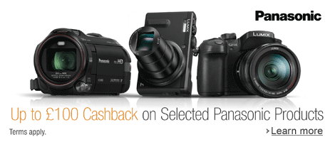 Up to £100 Cashback with Selected Panasonic Cameras & Camcorders