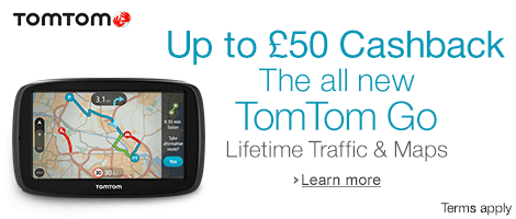 Get up to �50 Cashback on Selected TomTom Go Satnavs