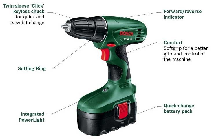 bosch psr 18 cordless 18 volt drill driver 2 x nicd batteries new uk seller ebay. Black Bedroom Furniture Sets. Home Design Ideas