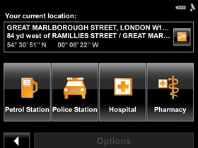 Emergency help tells you within seconds where important locations such as the police, hospitals can be found