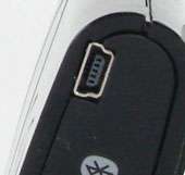 loseup image of the Mini-USB charging input