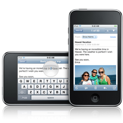 Apple iPod touch with landscape and portrait typing on email