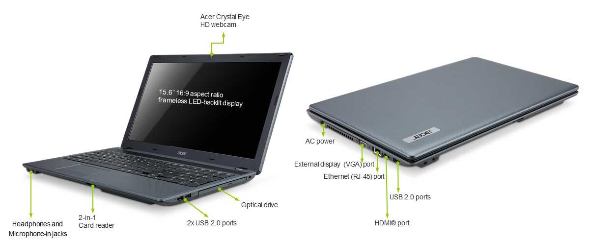 Acer Aspire 5349 15.6 inch Laptop (Intel Celeron B800 1.5 GHz, RAM 3GB