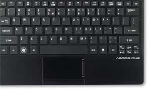 The full size keyboard and modern track pad make the Aspire One 725 easy to use, even on the move