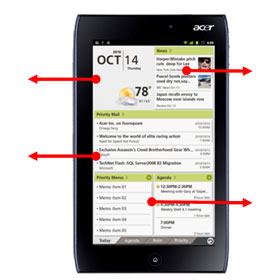 See how the ICONIA TAB A100's day planner puts all the information you need in on one screen