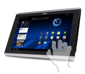 The ICONIA TAB A500 runs Android 3.0 Honeycomb