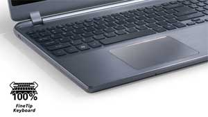 The Aspire M5 features an attractive chiclet keyboard, and included optical disc drive
