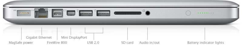 The 13-inch MacBook Pro has all the ports you need including FireWire 800, USB 2.0 and SD card
