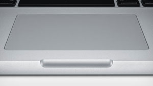 The 15-inch MacBook Pro features a combined, multi-touch trackpad and operation button