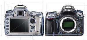 The D600 back and front with weatherproofing outlined in blue