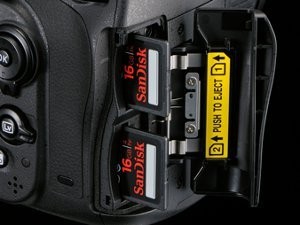 The right hand side of the camera showing the twin slots for the SD memory cards