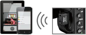 The wireless adapter transmitting to smart devices displaying an Android app