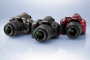 Picture shows the three colour variations of the D5200.