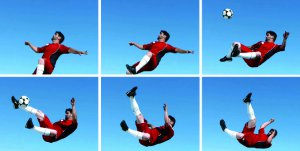 Picture shows a series of six continuous shots of a man kicking a football.