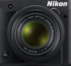 Picture shows a close-up of the front of the camera including the lens and one of the two customisable function buttons.