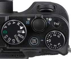 Picture shows the controls on the top of the camera.