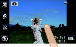 Picture shows an example of the menu and image display when the camera is being used to take a photo using the touch-screen.