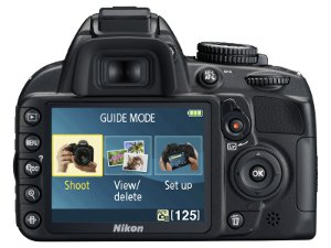 Picture shows the Guide Mode menu screen displayed on the camera's LCD monitor.