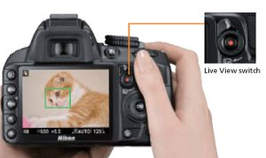 Picture shows the rear of the camera and the LCD image display while the Live View feature is activated.