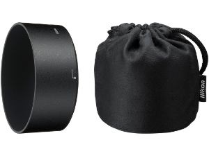 Picture shows the lens hood and soft carrying pouch included.