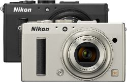 Picture shows the camera viewed from the front in the two colour options (Black and Silver).
