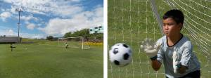 Picture compares two images of a young football goal-keeper taken at extreme wide-angle and full-telephoto.