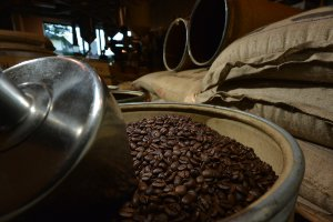 Close-up view of coffee beans and sacks.
