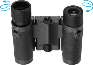 Close-up view of the HG L binoculars (foldable models) from underneath.