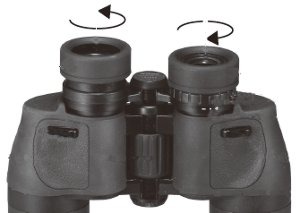 Diagram showing Aculon A211 binoculars from underneath to display operation of the turn and slide eyecups.