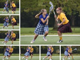 A montage of seven images of two Lacrosse players, showing a rapid sequence of shots.