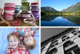 A montage of four images showing 1. Spools of coloured ribbon, 2. A landscape of a lake and mountains, 3. A portrait of two small boys, 4. Monochrome view of a building.