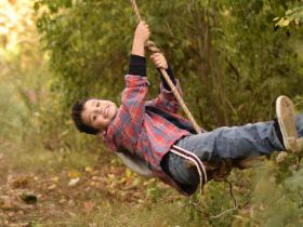 Picture of a boy on a rope swing.