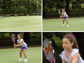 Picture shows 4 views of a young girl playing tennis to demonstrate the capabilities of the optical zoom lens.