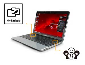 The EasyNote TE features convenient one-click buttons to launch your backup software and favourite social media feeds.
