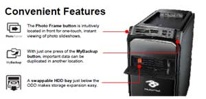 The ixtreme includes a number of convenient features, including a swappable HDD bay
