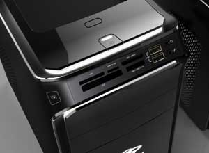 The front of the ixtreme includes a multi-in-1 card reader, USB ports and headphone/microphone sockets