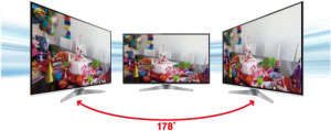 Wide angle viewing performance is also improved in the DT50 models as Panasonic use a technology called IPS (In-Plane Switching) that aligns the open crystals horizontally and parallel to the screen