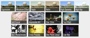 A wide selection of creative filter style effects