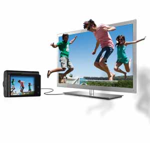 Hook the camera up to a 3D HDTV to display images in stunning 3D