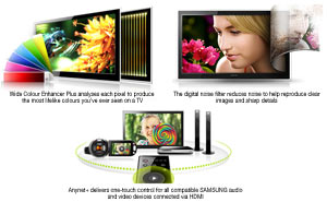 The advanced features of Samsung LED TVs produce stunning picture quality