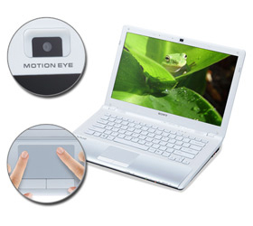 The notebook incorporates functional features like a multi-touch trackpad and built-in Motion Eye webcam