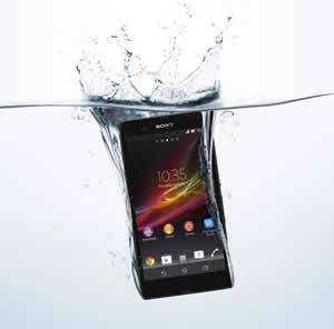 Xperia Z is water resistant for as long as 30 minutes in water 1 meter deep.
