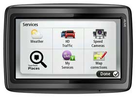 The menu system allows easy access to services such as map corrections, TomTom places search and weather updates.