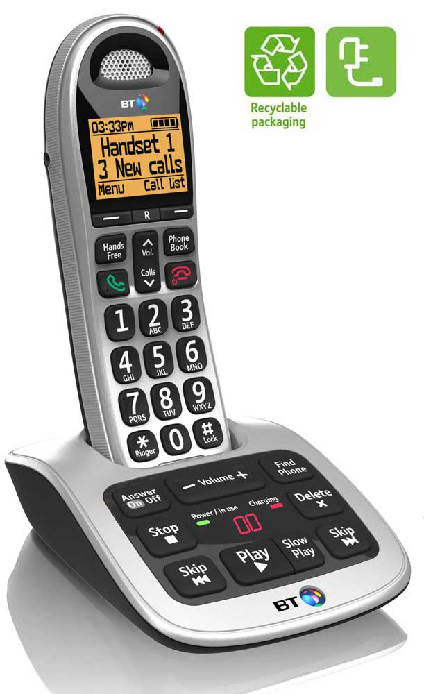 Brand new bt 4500 cordless big button dect phone trio with for Energy efficient brands
