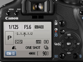 The EOS 500D has all functions within easy reach, next to the bright 3-inch Clear View LCDscreen