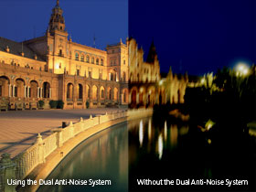 The Dual Anti-Noise System offers a new low light mode which greatly improves dynamic range and noise reduction for brilliant results.