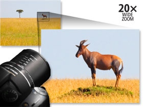 The amazing 20x Optical zoom is equivalent to a 35mm lens of 28-560mm