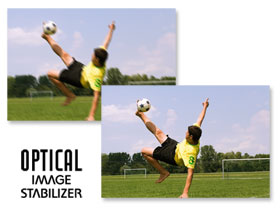 The Optical Image Stabiliser automatically detects and corrects camera shake.